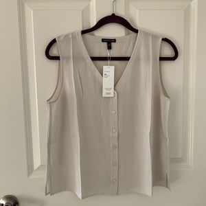 NWT Eileen Fisher Silk Georgette Crepe Top size XS